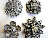 4 Jeweled Magnets. Fancy Neodymium-WHITE CLEAR