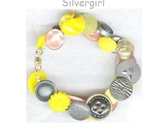 Vintage Button Charm Bracelet Yellows Peach Grays