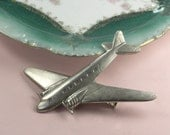 Jet set barrette airplane hair clip retro antiqued silver finish kitsch hair accessory pilot flight attendant gift