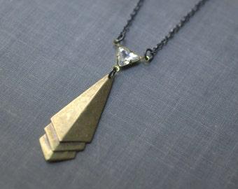 Art deco tie necklace crystal brass 1930s style retro geometric