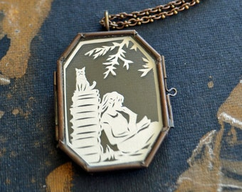 Sale 20% Off // AFTERNOON READING in the PARK Locket - Hand-Cut Miniature Papercut Locket Necklace // Coupon Code SALE20