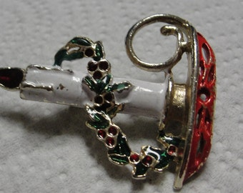Vintage Christmas Candle Stick Brooch
