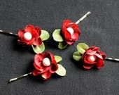 Red Christmas Holiday Floral Bridal Hair Clip Pins Wedding Accessory