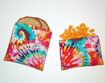 TIE DYE - Eco Friendly Reusable Sandwich and Snack Bag Set