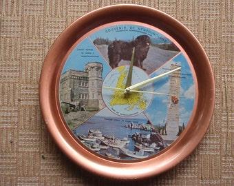 Vintage Newfoundland Souvenir Clock - Repurposed Tourist Tray - FREE SHIPPING