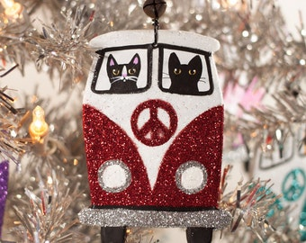Red Christmas Bus Clay Cat Folk Art Ornament