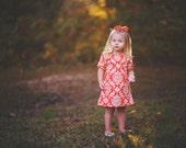 dress - Fall, orange, pumpkin, damask, half sleeve baby toddler girl photo shoot Thanksgiving 0-3, 3-6, 6-12, 12-18, 18-24, 2T, 3T 4T 5T 6 7