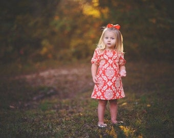 dress - Spring orange, pumpkin, damask, half sleeve baby toddler girl photo shoot 0-3, 3-6, 6-12, 12-18, 18-24, 2T, 3T, 4T, 5T 6 Easter