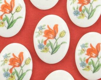 6 Vintage Porcelain Japanese Red Tulip Cabochons