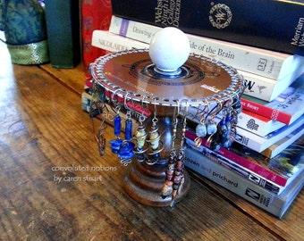 rustic wood jewelry organizer earring holder vintage handmade