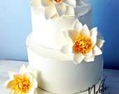 Water lily wedding  cake topper for garden wedding pond sugar flowers alternative gumpaste