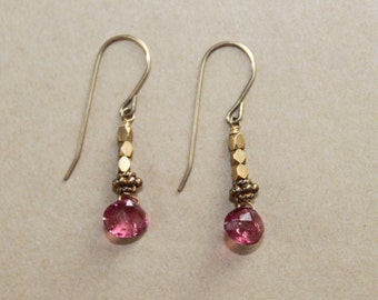 Pink Tourmaline Briolette Gold Vermeil Beads on Gold Filled Earwires Handcrafted Dangle Earrings