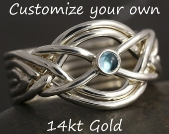 Personalize 6 band puzzle ring in 14kt gold - More options available