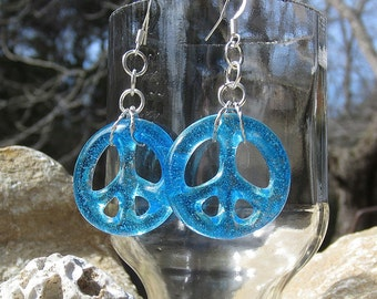 Aqua Blue Peace Signs Fused Glass Dangling Earrings