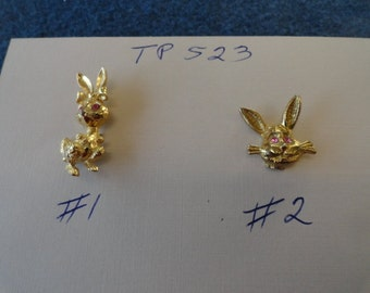 Choose your Vintage Gold Plated Rabbit Tack Pin  TP 523