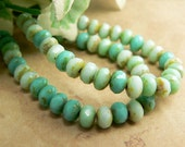 Mint Turquoise Czech Glass Beads Rondell Opaque Picasso 3x5mm Spacers Mix (30)