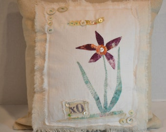 Scrappy Flower Applique Mixed Media Pillow