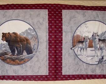 Bear Wolf Pillow Panel Fabric