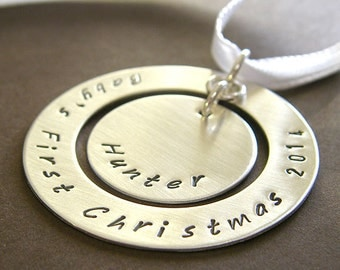 "Baby's First Christmas Ornament - Personalized Baby's 1st Christmas Ornament - Hand Stamped Sterling Silver 1.5"" Keepsake Ornament"