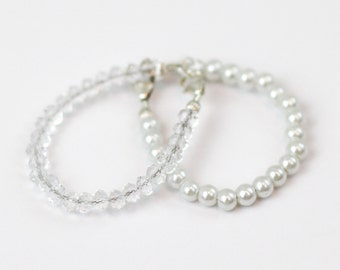 2 pack--Petite White Pearl  & Crystal Sterling Silver Wired Bracelet double pack-great to wear alone or wear together
