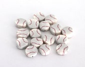 Baseball Beads, Polymer Clay Beads, Sports Beads, Cane Slices, 15 Pieces