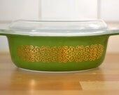 Vintage Pyrex 'Bramble' or 'Gold Scroll on Green' #043 Casserole