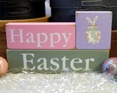 Happy Easter Shelf Sitter Sign Blocks Hand Painted Bunny Home Decor Stacking Blocks