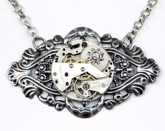 Steampunk Gothic Ornate Filigree Antiqued Silver Choker with Vintage Watch Movement and Gears by Velvet Mechanism