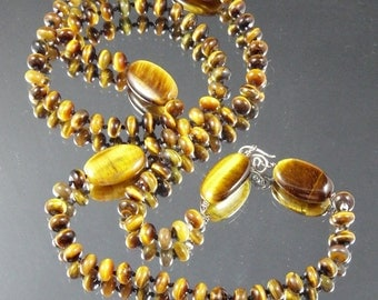 "Natural Tiger Eye 32"" Hand Knotted LUX Gemstone Golden Brown Long Necklace with a Niobium Clasp kgkiser 2014"