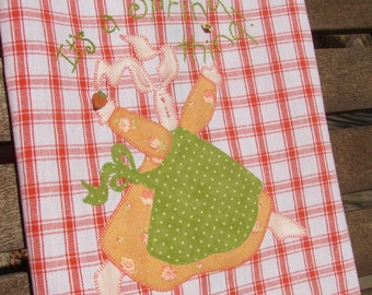 Spring Bunny Rabbit Easter Tea Towel Hand Embroidery Cute Carrot Bumble bee Button Spring Gift Idea Easter Holiday Easter Kitchen Home Decor