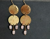 Gypsy chandelier earrings, brass and rose quartz, gold and pink, hammered disc earrings, gold coin earrings
