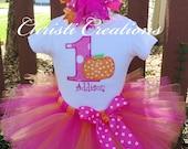 Baby Girl 1st Birthday Outfit - Pumpkin 1st Birthday Tutu - Pink and Orange - Baby Girls' Clothing