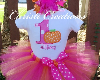 Baby Girl 1st Birthday Outfit - Pumpkin 1st Birthday Tutu - Pink and Orange - Baby Girls' Clothing