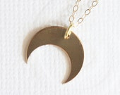 Downward Gold Crescent Moon Necklace - Gold Filled Everyday Jewelry