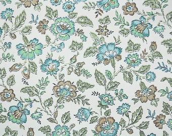 1960s Vintage Wallpaper by the Yard - Blue Green and Brown Floral Chintz on White