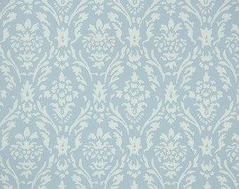 1950's Vintage Wallpaper - White Floral Damask on Blue