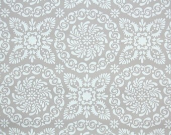 1940's Vintage Wallpaper - White Geometric Circles on Taupe