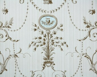 1940s Vintage Wallpaper by the Yard - Brown Victorian Design with Blue Medallion and Harp