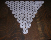 Unusual Shaped White Triangle  Crochet Doily Runner   - D123114