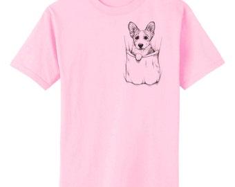 Corgi In Pocket Dog Art T-Shirt Youth and Adult Sizes