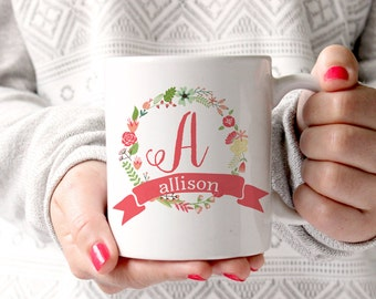Personalized Coffee Mug -Floral wreath with name and initial