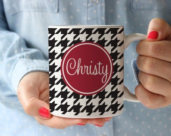 Personalized Coffee Mug -Houndstooth with name (hint:  Roll Tide)