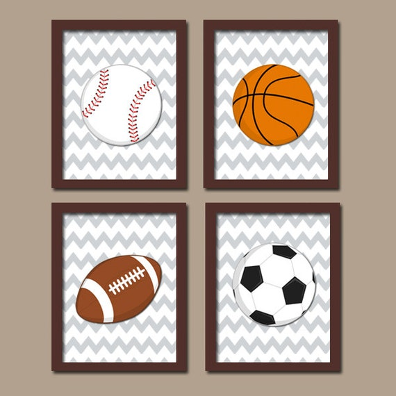 SPORTS Wall Art CANVAS Or Prints Boy Nursery Kid Child Balls Soccer