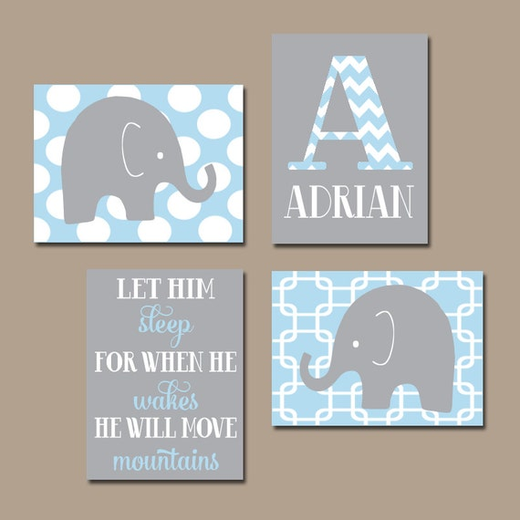 Boy Nursery Wall Art CANVAS Or Prints Baby BOY Elephant Wall Art