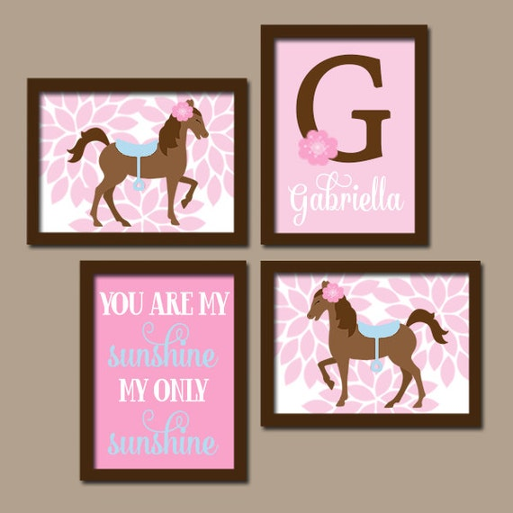 Girl horse wall art pony girl bedroom pictures baby girl for Girls wall art
