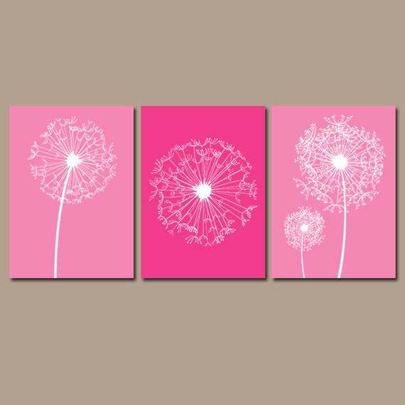 Wall art canvas pink : Dandelion wall art hot pink bedroom pictures canvas by