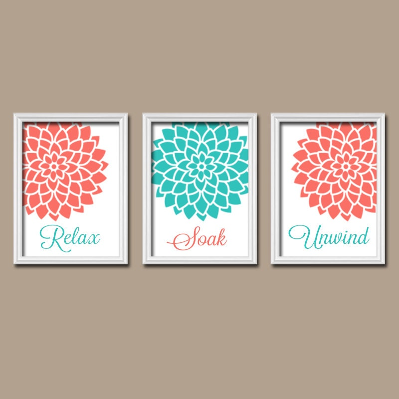 Turquoise coral bathroom wall art canvas or print by trmdesign for Turquoise wall decor
