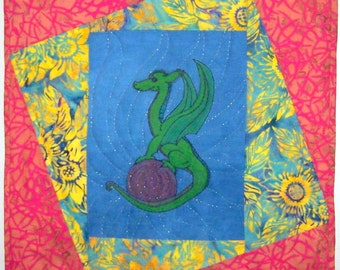 Fire Garden Dragon quilted wall art