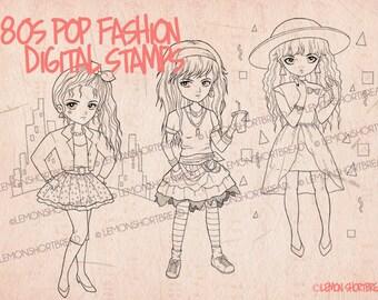 Digital Stamp 1980s Pop Fashion Girls Set, Digi Download, Coloring Pages, 80s Eighties, Punk Summer, Clip Art, Scrapbooking Supplies