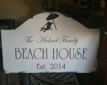 Custom Beach House rustic wood sign
